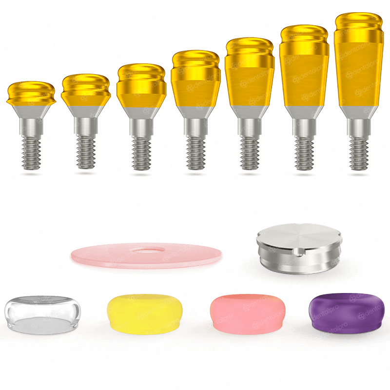 Premium Golden TiN (Nitride) Coated Click Attachment Set - Internal Hex (NP)