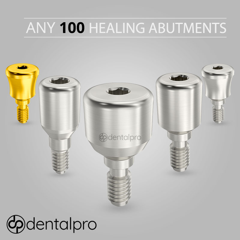 Any of 100 Healing Caps Abutments for Dental Implant - Internal Hex