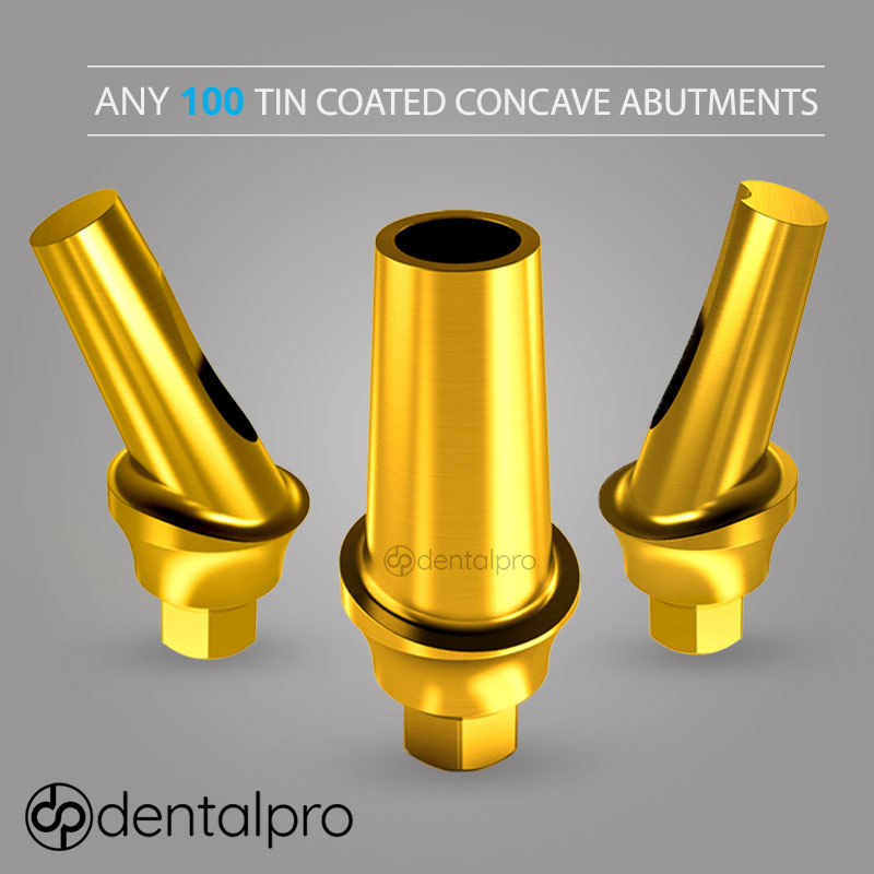 Any 100 TiN Coated Concave Titanium Abutments for - Internal Hex