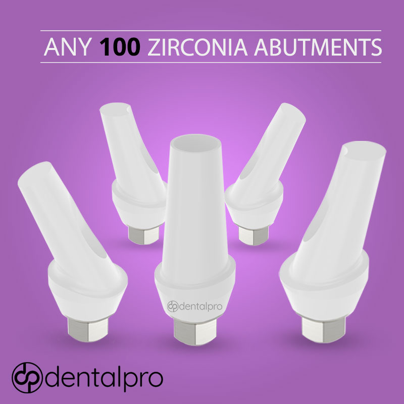 Any 100 Zirconia Abutments with Ti-Base Dental Implant - Internal Hex