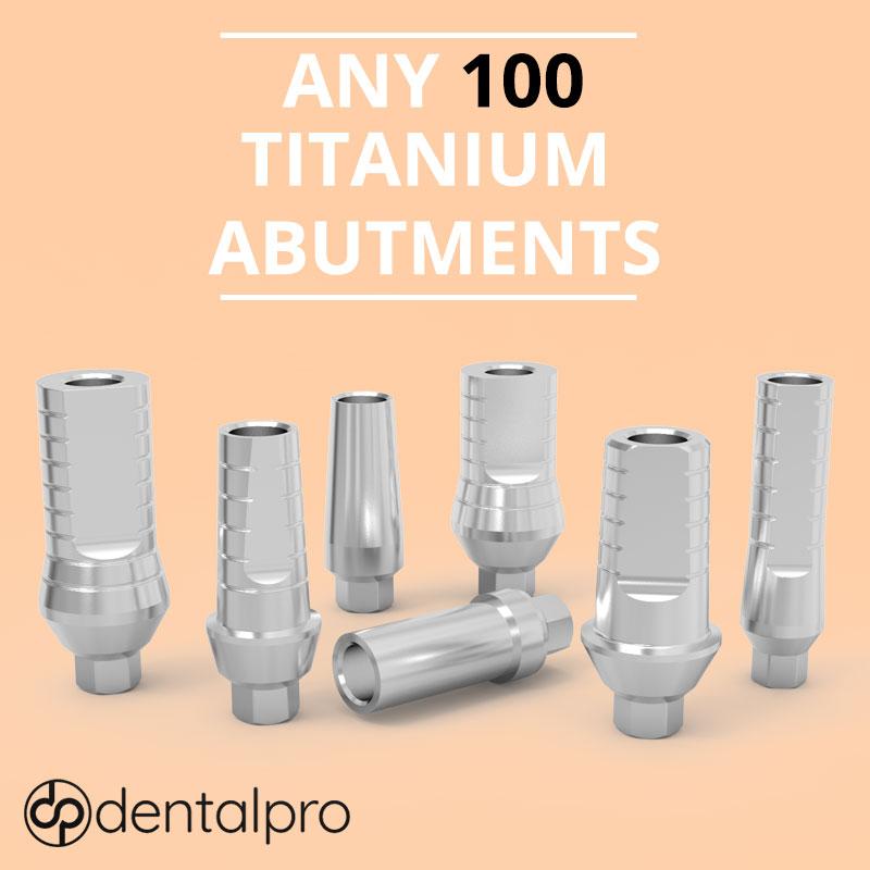 Any 100 Straight Titanium Abutments for Dental Implant - Internal Hex