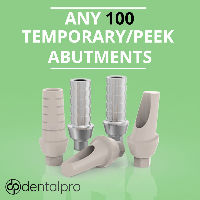 Any 100 Temporary Peek / Titanium Abutments for - Internal Hex