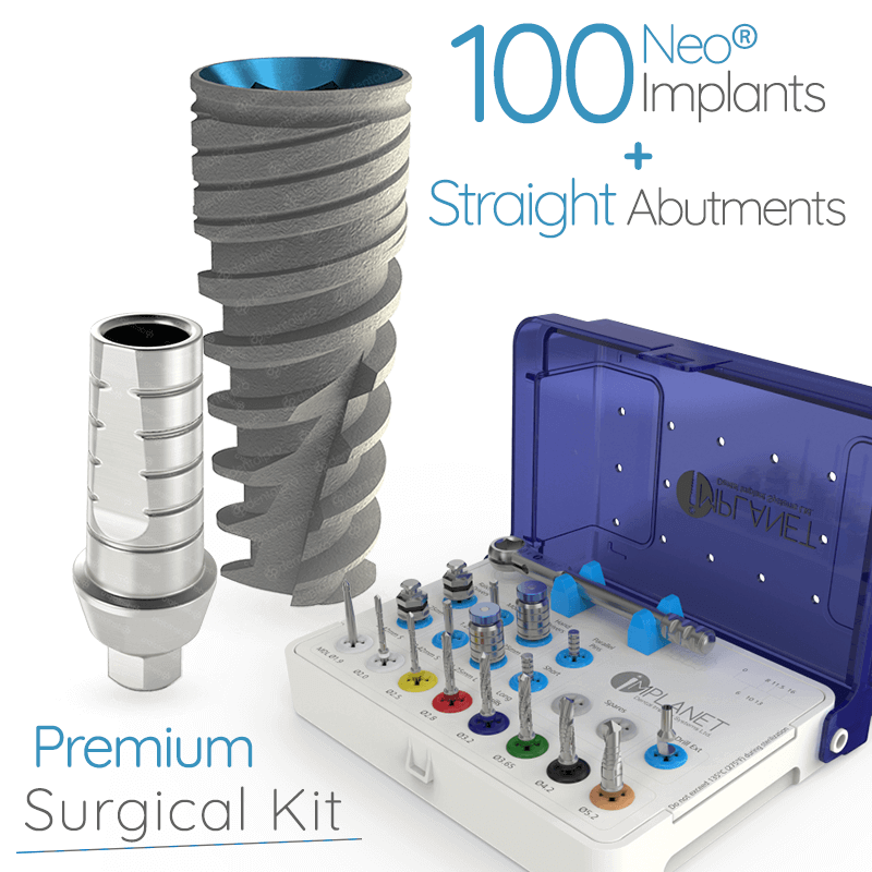100 Neo® Implants + 100 Straight Abuments + ImplaKit® Starter - Internal Hex